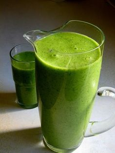 Super Alkaline Smoothie!  In your Juicer:    1 (packed) cup of Spinach  1 (packed) cup of Parsley  1 Apple  5 ribs Celery  1 large English Cucumber  1 Lime with skin    #2. Put Juice into your Blender    In your Blender add the following:    2 medium sized avocados (peel skin)  1 cup of fresh Coconut Meat (or 2 tbsps. of Coconut oil)  Blend EVERYTHING together for 30 seconds to 1 minute.  This is a recipe for 2 people