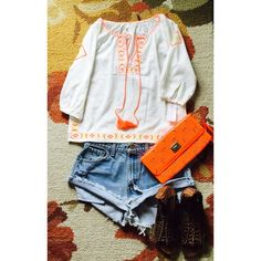 """NWT Truth NYC Shirt NWT 100% cotton size small Boho shirt with neon orange and yellow embroidery 3/4 sleeve, length 23"""", width 19"""". So cute light and flowy for summer. Truth NYC Tops Blouses"""