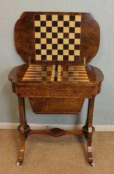 Antique Victorian Sewing Table / Backgammon Games Table