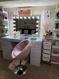 SlayStation® Pro Tabletop + Glow Pro Vanity Mirror + Drawer Units Bundle Source by room Room Ideas Bedroom, Girl Bedroom Designs, Bedroom Decor, Beauty Room Decor, Makeup Room Decor, Makeup Rooms, Makeup Studio Decor, Cute Room Decor, Teen Room Decor