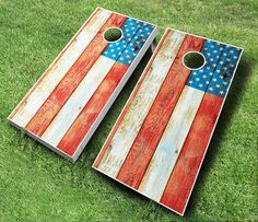 This is our extremely popular Distressed American Flag Cornhole Board Set available for purchase at http://www.midwestcornhole.com/all-american-sets/