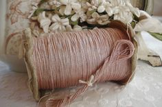 1Y VINTAGE FRENCH PINK SILVER METAL METALLIC EMBROIDERY THREAD FLOSS FLY TYING #MadeinFrancec1920s