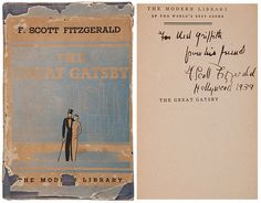 "$50,000 signed copy of The Great Gatsby. Sold. ""For Ned Griffith from his friend, F. Scott Fitzgerald, Hollywood 1939"""