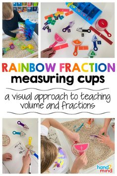 Unique, visual approach to teaching volume and fractions. Measurement and fractions are commonly cited as 2 of the hardest concepts to teach in math. Our Rainbow Fraction Measuring Cups provide a unique 3D representation that helps connect volume and fractions. Children see and experience measuring, comparing volumes and capacity, and learning fractional relationships. Activity Centers, Math Centers, Math Rotations, Volume And Capacity, Guided Math, Number Sense, Math Classroom, Differentiation, Fractions