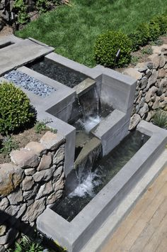 Humanature water feature- bluestone bridge & spill stones water water f Modern Water Feature, Backyard Water Feature, Ponds Backyard, Diy Garden Fountains, Indoor Water Fountains, Indoor Water Features, Water Features In The Garden, Pond Design, Landscape Design