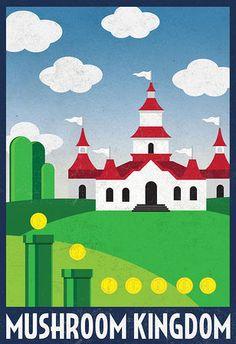 Mushroom Kingdom Retro Travel Poster Poster at AllPosters.com