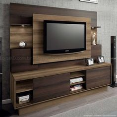 estante home linea brasil - kd Tv Rack Design, Tv Cabinet Design, Tv Unit Furniture Design, Tv Unit Interior Design, Modern Tv Cabinet, Modern Tv Wall Units, Tv Unit Decor, Tv Wall Decor, Living Room Tv Unit Designs