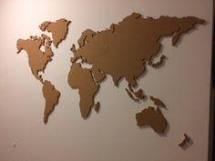 Wereldkaart van kurk XXL 150 x 80 cm.