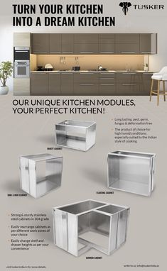 Turn your kitchen into a dream kitchen. #kitchen, #kitchencabinet, #stainlesssteelkitchencabinet, #bangalore Hebbar's Kitchen, Moms Kitchen, EcoFriend,