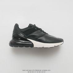 e142b5cf1f1a Mens Nike Air Max 270 Premium Rear Half Palm Air All-Match Jogging Shoes  Stitching Leather Black Pale Grey