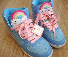 Kawaii Rainbow sneakers in sky blue Harajuku Fashion, Kawaii Fashion, Cute Fashion, Boy Fashion, Kawaii Shoes, Kawaii Clothes, Kawaii Outfit, Weird Clothes, Pastel Shoes