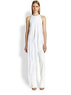 Donna Karan Georgette-Trimmed Asymmetrical Top~ ~ Thx Chandra Burch Peterson!