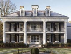 Home exterior, add bigger round columns and window dormers on roof someday