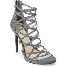 d854c7946bb1 Jessica Simpson Pewter Razella Embellished Caged Pumps ( 50) ❤ liked on Polyvore  featuring shoes