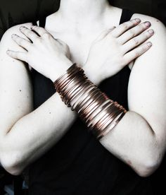 Copper Cuff Bracelet - Multiple Layers Bangles Bracelet - Nomad Gypsy - Handmade Solid Copper Jewelry