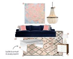 Mood Board Room Styled with Navy Coral