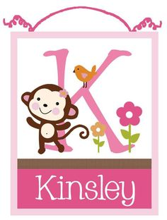 Personalized Jungle Jill/Girl Monkey Wood Letter Name Sign/Plaque Nursery Decor. $24.99, via Etsy.