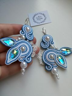 White and blue romantic soutache earrings with lace and pearls