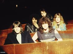 ODEON Photo of Brian DOWNEY and Darren WHARTON and John SYKES and Phil LYNOTT and Scott GORHAM and THIN LIZZY, L-R: Scott Gorham, Phil Lynott, Darren Wharton (front), Brian Downey (back), John Sykes - posed, group shot