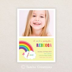 Photo Birthday Invitations. Girls Rainbow Party Design. I Customise, You Print. - by TAMBOCREATIONS on madeit