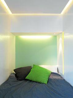 Sovealkove med integrert belysning
