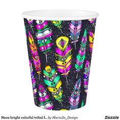 Neon bright colorful tribal feathers pattern dark paper cup