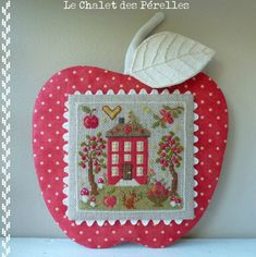 cute apple background for Fall cross stitch scene