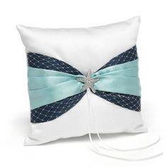 Treasures from the Sea Ring Pillow Ring Bearer Pillows, Ring Pillows, Aquarium Wedding, Disney Treasures, Fairytale Weddings, Beach Weddings, Blue Weddings, Aqua Fabric, White Pillows