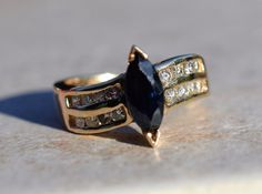 ESTATE 14K YELLOW GOLD BLUE SAPPHIRE & DIAMOND RING-SIZE 5.5 585 1.50CT TGW  #X #SolitairewithAccents