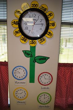 Plants kindergarten crafts classroom New ideas Classroom Clock, 2nd Grade Classroom, Classroom Setting, Math Classroom, Classroom Ideas, Maths, Diy Classroom Decorations, Primary Classroom Displays, Garden Theme Classroom