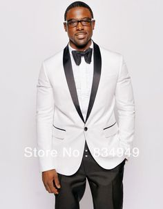 Wholesale Groom Tuxedos - Buy New Style White Jacket Black Pants ...