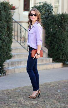 Lilac silk blouse + dark denim + leopard-print pumps.