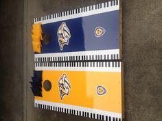 Nashville Predators corn hole boards.