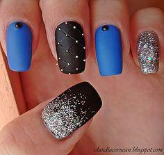 Claudia Cernean - Unghii Mate cu Sclipici - Matte Nails with Glitter #nailart #mattenails #glitternails