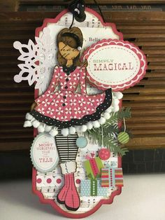 Made by Connie Davis Prima Paper Dolls, Prima Doll Stamps, Vintage Paper Dolls, Christmas Tag, Christmas Crafts, Scrapbook Paper Crafts, Scrapbooking, Julie Nutting, Hand Made Greeting Cards