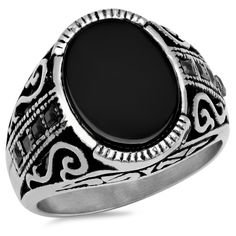 Men's Steeltime Men's Stainless Steel Black Cubic Zirconia Accented... ($15) ❤ liked on Polyvore featuring men's fashion, men's jewelry, men's rings, jewelry & watches, rings, mens black onyx rings, mens cubic zirconia rings, mens fake diamond rings, mens stainless steel rings and mens cz rings