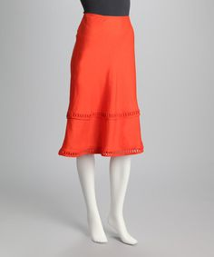 Take a look at this Guava Orange Lattice-Trim A-Line Skirt by Joy Mark on #zulily today!