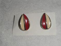 Vintage Red & Off White Enamel Teardrop Earrings