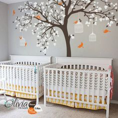 [Visit to Buy] big size Bird Cage Tree Nursery Wall Stickers Removable Vinyl Decal Kids Baby room Decor wall art poster
