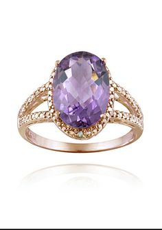 On ideeli: ENDURING JEWELS Oval-cut Amethyst and Diamond Accent Ring