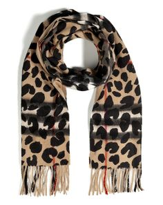 Burberry London Cashmere Animal Printed Giant Check Scarf