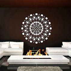 Wall Decal Vinyl Sticker Decals Art Home Decor Murals Decal Mandala Ornament Indian Geometric Moroccan Pattern Yoga Namaste Flower Lotus Flower Buddha Om Ganesh Bathroom Bedroom Dorm Decals AN277