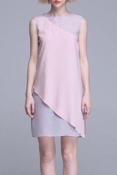 Irregular Color BlockTank Top Dress