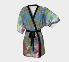 Belted kimono robe, blue and green, cardigan, boho, wearable art, art to wear…