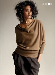 Drape neck cashmere slouchy top in Sienna by Eileen Fisher Parisian Chic Style, Petite Outfits, Lookbook, Elegant Outfit, Casual Elegance, Look Chic, Eileen Fisher, Clothes For Women, My Style