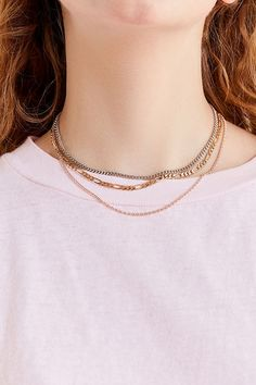 28f49a95db1e80 Simple Chain Necklace Set | Urban Outfitters M Necklace, Simple Necklace,  Multi Strand Necklace