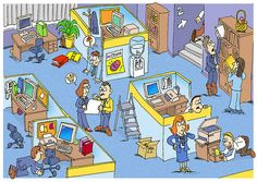 Praatplaat kantoor: Zoek de eieren Hazard Identification, Safety Posters, Safety First, Everyday Activities, Picture Description, Teaching Spanish, Toddler Preschool, Health And Safety, Cartoon