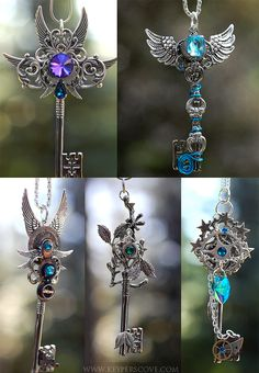 "envydragon: "" "" honeyyoushouldseemeinacrown: "" noo-mikasha-thash-ghayy: "" steampunk-street: "" KEYPERS COVE "" if someone literally bought me one of these, there would Key Jewelry, Cute Jewelry, Jewelery, Jewelry Accessories, Jewelry Design, Jewelry Making, Fairy Jewelry, Jewelry Ideas, Kurt Tattoo"