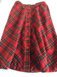 Vintage red plaid A-Line button front skirt by WorcesterMercantile