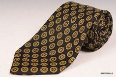KITON Hand Made Black & Yellow Silk Seven Fold Tie NEW